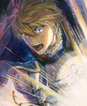 1boy armor arthur_pendragon_(fate) blonde_hair cape fate/prototype fate_(series) glowing green_eyes highres male_focus mosako open_mouth solo traditional_media upper_body watercolor_(medium)