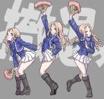 1girl arched_back ass bc_freedom_(emblem) bc_freedom_military_uniform black_footwear blonde_hair boots drill_hair emblem fan girls_und_panzer girls_und_panzer_saishuushou green_eyes hand_on_hip highres jacket knee_boots long_hair looking_at_viewer marie_(girls_und_panzer) open_mouth pleated_skirt school_uniform skirt smile squatting tiptoes yamashita_shun'ya