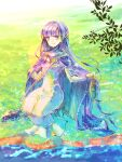 1girl absurdly_long_hair absurdres braid breasts cape commission commissioner_upload dress fire_emblem fire_emblem:_the_binding_blade fish fishing fishing_rod french_braid highres holding lake long_hair medium_breasts miyama_(lacrima01) nature purple_hair shiny shiny_hair smile solo sophia_(fire_emblem) very_long_hair water