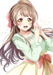 1girl :d arms_up bangs bow breasts brown_eyes brown_hair collarbone fingers_together green_sweater hair_bow highres jewelry long_hair looking_at_viewer love_live! minami_kotori necklace one_side_up open_mouth ranemu simple_background skirt smile solo sparkle sweater tongue upper_teeth white_background yellow_eyes yellow_skirt