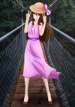 background blue_eyes pink_dress pink_ribbon sun_hat yuki yuki_hoshia
