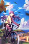 absurdres alternate_costume backpack bag bicycle blue_sky braid building clouds commission commissioner_upload fire_emblem fire_emblem:_the_binding_blade flower french_braid ground_vehicle highres huge_filesize open_mouth purple_hair school_uniform skirt sky smile sophia_(fire_emblem) truong.tong01 violet_eyes water