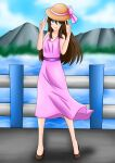 background blue_eyes brown_hair pink_bow pink_dress sun_hat yuki yuki_hoshia