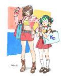 203wolves 2girls brown_hair holding_drink mazaki_anzu mizuki_kotori_(yuu-gi-ou_zexal) multicolored_hair yuu-gi-ou yuu-gi-ou_duel_monsters yuu-gi-ou_zexal
