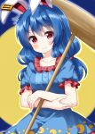 1girl animal_ears bangs blue_background blue_dress blue_sleeves breasts collar crescent crescent_print crossed_arms dress eyebrows_visible_through_hair full_moon hair_between_eyes hammer hands_up highres looking_at_viewer medium_breasts medium_hair moon rabbit_ears red_collar red_eyes ruu_(tksymkw) seiran_(touhou) short_sleeves simple_background smile solo star_(symbol) star_print touhou yellow_moon