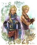 2boys blonde_hair blue_eyes bracelet brothers cape cocoon_(yuming4976) earrings edgar_roni_figaro final_fantasy final_fantasy_vi fingerless_gloves gears gloves grin hair_ribbon hand_on_hip jewelry king long_hair long_sleeves looking_at_viewer looking_to_the_side male_focus mash_rene_figaro monk multiple_boys muscular muscular_male pants ponytail ribbon short_hair siblings smile tank_top twins