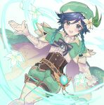 1boy androgynous argyle argyle_legwear bangs beret black_hair blue_hair bow braid brooch cape collared_cape collared_shirt commentary_request corset dutch_angle feathers flower frilled_sleeves frills gem genshin_impact gradient_hair green_eyes green_headwear green_shorts hat hat_flower highres ina_(t_play1125) jewelry leaf light_particles long_sleeves looking_at_viewer male_focus multicolored_hair open_mouth pantyhose petankoside pinwheel shirt short_hair_with_long_locks shorts simple_background smile solo twin_braids venti_(genshin_impact) vision_(genshin_impact) white_flower white_legwear white_shirt wind
