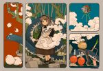 1girl akai_sashimi apron bird brown_footwear brown_hair clouds full_body holding long_hair long_sleeves octopus original plant rice_cooker shoes signature snake solo spring_onion standing teapot white_apron