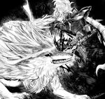 andrius_(genshin_impact) blood boots claws diluc_ragnvindr fangs fighting fighting_stance full_body genshin_impact gloves greyscale highres jacket jin_amber midair monochrome open_mouth sword weapon wolf
