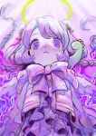 1girl bangs bow braid creature creature_on_shoulder frills halo highres long_hair looking_at_viewer on_shoulder original pink_bow purple_hair purple_theme solo toyux2 twin_braids upper_body violet_eyes