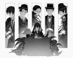 6+boys black_hair black_jacket black_pants bow bowtie cane closed_eyes closed_mouth gaural glasses gun hat highres holding holding_gun holding_weapon ink jacket klein_moretti lamp lord_of_the_mysteries monochrome multiple_boys necktie pants paper quill revolver robe shirt smile table tentacles weapon white_shirt writing