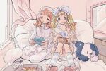 2girls blonde_hair blue_eyes bow chips curtains dress eating food food_in_mouth hair_bow holding holding_food knees_up long_hair medium_hair multiple_girls orange_hair original pillow pizza potato_chips slippers socks toyux2 twintails white_bow white_dress window