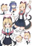 >_< 2girls :d :t absurdres animal_ears arrow_(symbol) bangs black_legwear black_skirt blonde_hair blue_archive blue_hair blue_neckwear blush bow cat_ear_headphones cat_ears cat_tail chibi closed_eyes closed_mouth collared_shirt commentary_request dress_shirt eyebrows_visible_through_hair fake_animal_ears flying_sweatdrops gun hair_between_eyes hair_bow halo headphones highres holding holding_gun holding_weapon huge_filesize jacket kneeling long_hair long_sleeves lying momoi_(blue_archive) moyoron multiple_girls multiple_views necktie off_shoulder on_back open_clothes open_jacket open_mouth pleated_skirt pout red_bow rifle shirt skirt smile sniper_rifle tail thigh-highs translation_request two_side_up v-shaped_eyebrows very_long_hair violet_eyes weapon white_background white_jacket white_shirt wide_sleeves yuuka_(blue_archive)