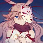 1girl alternate_eye_color animal_ears bangs bare_shoulders blue_background blue_eyes closed_mouth fox_ears fox_mask hair_between_eyes holding holding_weapon honkai_(series) honkai_impact_3rd japanese_clothes kimono looking_at_viewer looking_back lowres mask rosary silence_(pixiv18541142) simple_background solo weapon yae_sakura yae_sakura_(gyakushinn_miko)