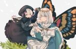 1boy 1girl black_dress black_headwear black_ribbon blue_eyes braid bug butterfly_wings cape doll_joints dress eyebrows_visible_through_hair fate/grand_order fate_(series) frills fur-trimmed_cape fur_trim hair_between_eyes hair_ornament hat highres hirase_nariko insect insect_on_finger joints long_sleeves moth nursery_rhyme_(fate) one_eye_closed open_mouth puffy_sleeves ribbon short_hair simple_background smile violet_eyes white_hair wings