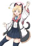 >_o 1girl ;d absurdres animal_ears arm_up black_legwear black_skirt blonde_hair blue_archive blue_neckwear blush bow cat_ear_headphones cat_ears cat_tail clenched_hand collared_shirt fake_animal_ears frilled_jacket frilled_skirt frills hair_bow halo headphones highres jacket long_sleeves momoi_(blue_archive) moyoron necktie off_shoulder one_eye_closed open_clothes open_jacket open_mouth pink_eyes pleated_skirt red_bow shirt short_necktie simple_background skirt smile solo star_(symbol) tail thigh-highs translation_request white_background white_jacket white_shirt wide_sleeves