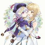 2girls absurdres bare_shoulders blonde_hair closed_mouth dress feather_hair_ornament feathers gauntlets genshin_impact hair_ornament hat highres holding_another jiangshi long_hair long_sleeves lumine_(genshin_impact) multiple_girls one_eye_closed open_mouth purple_hair purple_headwear qing_guanmao qiqi_(genshin_impact) simple_background sugaharu violet_eyes white_dress wide_sleeves yellow_eyes