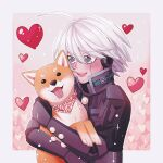 1boy :d ahoge android black_gloves black_jacket blush border cheer_(cheerkitty14) commentary danganronpa_(series) danganronpa_v3:_killing_harmony dog english_commentary gloves grey_hair happy heart highres holding jacket keebo looking_at_animal male_focus medium_hair open_mouth pink_background scarf shiba_inu smile tongue tongue_out upper_body upper_teeth white_border