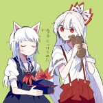 2girls animal animal_ears blue_dress blue_hair blue_headwear bow cat cat_ears closed_eyes commentary_request dress fake_animal_ears fujiwara_no_mokou green_background hair_bow hat hat_removed headwear_removed holding holding_animal holding_cat holding_clothes holding_hat itomugi-kun kamishirasawa_keine long_hair multicolored_hair multiple_girls pants red_bow red_eyes red_pants shirt short_sleeves single_wrist_cuff streaked_hair suspenders touhou translation_request two-tone_hair upper_body white_bow white_hair white_shirt wrist_cuffs