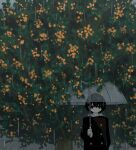 1boy absurdres avogado6 black_eyes black_hair black_jacket buttons commentary_request double-breasted highres holding holding_umbrella hood hood_down jacket jitome original rain solo transparent transparent_umbrella tree umbrella under_tree upper_body wide_shot