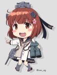1girl adapted_turret anchor_symbol binoculars brown_eyes brown_hair cannon cherry_blossoms commentary_request dress flower grey_background grey_neckwear hair_flower hair_ornament headset kantai_collection looking_at_viewer machinery nao_(nao_eg) neckerchief open_mouth pointing remodel_(kantai_collection) round_teeth sailor_dress short_hair smile solo speaking_tube_headset teeth turret twitter_username upper_teeth yukikaze_(kancolle)