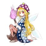 1girl american_flag_dress american_flag_legwear blonde_hair boots brown_footwear clownpiece dress fairy_wings fire full_body hair_between_eyes hat highres hiroshige_36 holding holding_torch jester_cap long_hair looking_at_viewer looking_back neck_ruff pantyhose polka_dot purple_headwear red_eyes short_sleeves simple_background sitting solo star_(symbol) star_print striped torch touhou transparent_wings very_long_hair white_background wings