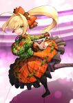 1girl absurdres ahoge bangs blonde_hair blush braid breasts dh_ead earrings fate/extra fate/grand_order fate_(series) french_braid green_eyes green_shirt hair_between_eyes hair_intakes hair_ornament highres jewelry large_breasts long_hair long_sleeves looking_at_viewer lostroom_outfit_(fate) nero_claudius_(fate) nero_claudius_(fate)_(all) one_eye_closed open_mouth orange_skirt shirt side_ponytail skirt smile solo