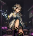 1girl arknights bare_legs black_footwear blue_gloves blue_shirt blurry blurry_background boots breasts chest_strap clay_(clayjun) commentary_request electricity feet_out_of_frame gloves glowing glowing_eyes grey_eyes grey_hair hand_up headlamp highres jacket long_sleeves looking_at_viewer mayer_(arknights) mayer_(visionblazer_in_the_courtyard)_(arknights) medium_breasts meeboo_(arknights) official_alternate_costume open_mouth shirt short_hair_with_long_locks sitting smile solo teeth thigh_strap violet_eyes white_jacket