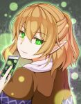 1girl bangs blonde_hair brown_shirt card closed_mouth commentary_request green_eyes half_updo highres holding holding_card looking_at_viewer looking_back medium_hair mizuhashi_parsee pointy_ears rishi_(ugati028) scarf shirt smile solo spell_card touhou upper_body white_scarf