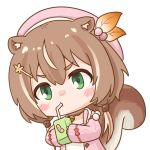 animal_ears ayunda_risu bangs beret blush blush_stickers brown_hair cable_knit cardigan chibi commentary drink drinking drinking_straw drinking_straw_in_mouth english_commentary exfp green_eyes hair_between_eyes hair_bobbles hair_ornament hairclip hat holding holding_drink hololive hololive_indonesia jewelry juice_box leaf_hair_ornament long_hair looking_ahead necklace open_cardigan open_clothes pink_cardigan pink_headwear squirrel_ears squirrel_girl squirrel_tail tail transparent_background twintails upper_body v-shaped_eyebrows