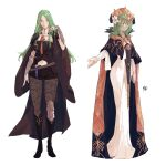 2girls armor bangs black_armor black_cape black_footwear black_legwear black_shorts blue_capelet boots breasts byleth_(fire_emblem) byleth_(fire_emblem)_(female) byleth_(fire_emblem)_(female)_(cosplay) cape capelet closed_mouth clothing_cutout commentary commission cosplay costume_switch crown dagger dress english_commentary eyebrows_visible_through_hair fire_emblem fire_emblem:_three_houses flower forehead green_eyes green_hair hair_between_eyes hair_flower hair_ornament hand_in_hair jewelry knife large_breasts long_hair long_sleeves looking_at_viewer multiple_girls navel navel_cutout pantyhose rhea_(fire_emblem) rhea_(fire_emblem)_(cosplay) sakuremi short_shorts shorts signature simple_background smile tiara weapon white_background white_dress white_flower
