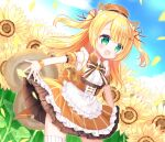 1girl :d animal_ears apron bangs beret blonde_hair brown_dress brown_headwear commentary_request copyright_request day detached_sleeves dress eyebrows_visible_through_hair flower frilled_apron frills green_eyes hair_between_eyes hat long_hair looking_away open_mouth outdoors outstretched_arms petals puffy_short_sleeves puffy_sleeves shikito short_sleeves sleeveless sleeveless_dress smile solo squirrel_ears squirrel_girl squirrel_tail standing striped striped_sleeves sunflower tail thigh-highs two_side_up vertical-striped_dress vertical_stripes virtual_youtuber white_apron white_legwear yellow_flower