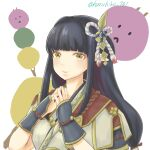 1girl black_hair blush haruhiko_(pixiv70157413) hinoa japanese_clothes kimono long_hair monster_hunter monster_hunter_(series) monster_hunter_rise pointy_ears