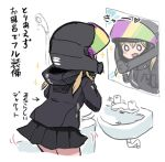1girl alternate_costume bangs bathroom black_jacket black_skirt heart helmet hood hood_down hooded_jacket jacket kantai_collection long_hair lowres mirror open_mouth pleated_skirt prinz_eugen_(kancolle) reflection shower_head simple_background sink skirt solo terrajin translation_request twintails white_background