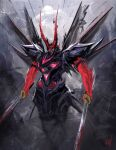 absurdres blood bloody_weapon clouds denh dual_wielding extra_eyes green_eyes gundam gundam_astray_red_frame gundam_seed gundam_seed_astray highres holding holding_sword holding_weapon horns katana looking_down mecha moon redesign science_fiction solo sword third_eye weapon
