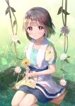 1girl :o b.ren bangs blunt_bangs blush brown_hair commentary_request dress eyebrows_visible_through_hair floral_print flower grass highres holding holding_flower lens_flare looking_at_viewer love_live! love_live!_nijigasaki_high_school_idol_club nakasu_kasumi outdoors parted_lips red_eyes shadow short_hair short_sleeves sitting solo sunlight swing white_flower yellow_flower