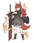 1boy :< animal_ears bangs black_footwear black_gloves black_jacket black_shorts boots closed_mouth diluc_ragnvindr fire full_body fur-trimmed_jacket fur_trim genshin_impact gloves hair_between_eyes highres holding holding_weapon jacket long_hair male_focus papajay_(jennygin2) red_eyes redhead shirt short_sleeves shorts simple_background solo standing suspender_shorts suspenders sword vision_(genshin_impact) weapon white_background younger