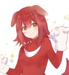 1girl :3 animal_ears bangs blush brown_hair clenched_hands cosplay dog_ears dog_girl eyebrows_visible_through_hair fukahire_(ruinon) gloves highres hololive inugami_korone knuckles_the_echidna knuckles_the_echidna_(cosplay) redhead smile solo sonic_(series) spikes v-shaped_eyebrows virtual_youtuber white_background white_gloves