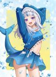 1girl :d absurdres animal_hood arms_behind_head arms_up bangom_r bangs blue_dress blue_hair blush bubble clothing_cutout commentary_request cowboy_shot drawstring dress eyebrows_visible_through_hair fish_tail gawr_gura highres hololive hololive_english hood hood_up hooded_dress huge_filesize long_hair long_sleeves looking_at_viewer multicolored_hair navel open_mouth panties pantyshot shark_hood shark_tail sharp_teeth smile solo stomach stomach_cutout streaked_hair tail tail_raised teeth tongue two-tone_background underwear violet_eyes virtual_youtuber white_hair white_panties