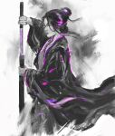 1girl black_hair closed_eyes closed_mouth colored_skin emma_the_gentle_blade fighting_stance hair_ornament japanese_clothes kimono lips sekiro:_shadows_die_twice sheath shimhaq simple_background solo souls_(series) sword unsheathed weapon