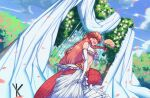 1girl :d absurdres blush bouquet breasts bride clouds dress earrings fangs flower hair_ornament hand_on_own_chest highres holding holding_bouquet jewelry lamia long_hair medium_breasts miia_(monster_musume) monster_girl monster_musume_no_iru_nichijou open_mouth outdoors pointy_ears redhead ring scales scenery sky slit_pupils smile solo wedding wedding_dress yankoe yellow_eyes
