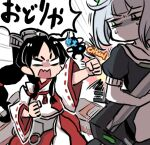 2girls abyssal_bamboo_princess bangs black_hair blunt_bangs clenched_hands critical_hit green_eyes headgear high_ponytail holding holding_torpedo japanese_clothes kantai_collection long_hair long_sleeves lowres multi-tied_hair multiple_girls nisshin_(kancolle) no_mouth open_mouth punching ribbon-trimmed_sleeves ribbon_trim sailor_collar short_hair short_sleeves speech_bubble sweat terrajin torpedo translation_request white_hair wide_sleeves