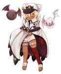 1girl absurdres bandages barefoot bat_wings blonde_hair cape chibi clover dark-skinned_female dark_skin dungeon_toaster four-leaf_clover guilty_gear guilty_gear_strive hat highres lucifero ramlethal_valentine shorts white_headwear wings yellow_eyes