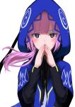 1girl absurdres blush capelet covering_mouth eyebrows_visible_through_hair floating_hair highres hood hood_up hooded_capelet kaf kamitsubaki_studio long_sleeves looking_at_viewer medium_hair multicolored multicolored_eyes nishikino_kee own_hands_together pink_hair side_ponytail simple_background solo steepled_fingers virtual_youtuber white_background yellow_pupils zipper_pull_tab