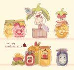 alcremie alcremie_(berry_sweet) appletun applin apron bounsweet bow bowtie character_print cherrim cherrim_(sunshine) cherubi closed_eyes closed_mouth clothed_pokemon combee facing_viewer gen_4_pokemon gen_7_pokemon gen_8_pokemon holding holding_spoon honey jam jar pokemon pokemon_(creature) smile spoon standing steenee yellow_eyes yurano_(upao)