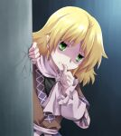 1girl arm_warmers bangs biting black_shirt blonde_hair brown_jacket clenched_teeth commentary_request cracked_wall finger_biting green_eyes jacket komiru looking_at_viewer medium_hair mizuhashi_parsee pointy_ears sash scarf shaded_face shiny shiny_hair shirt solo teeth thumb_biting touhou upper_body white_sash white_scarf