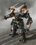 arm_cannon cable concept_art danny_gardner highres looking_ahead mecha no_humans official_art open_hands piston production_art radio_antenna reaper_(titanfall_2) science_fiction solo standing titanfall_(series) titanfall_2 weapon