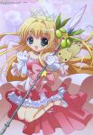1girl :d absurdres big_eyes blonde_hair cat copyright_name crown dress eyebrows_visible_through_hair gloves green_eyes hanazono_karin hands_clasped highres jumping kamichama_karin long_hair magical_girl megami_magazine official_art open_mouth own_hands_together pink_background pink_dress scan shii-chan smile very_long_hair white_gloves yoshida_yuuko