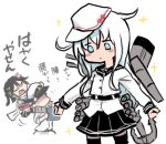 1boy 2girls admiral_(kancolle) anchor bangs black_hair black_skirt blue_eyes carrying closed_eyes closed_mouth commentary_request detached_sleeves flat_cap hat hibiki_(kancolle) jacket kantai_collection long_hair long_sleeves lowres multiple_girls piggyback pleated_skirt remodel_(kantai_collection) rigging scarf sendai_(kancolle) shaded_face simple_background skirt sparkle terrajin translation_request two_side_up verniy_(kancolle) white_background white_hair white_headwear white_scarf