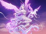 1girl alicorn_girl animal barbie_(franchise) blue_eyes bodysuit breasts doll earrings facial_tattoo feathered_wings flying high_heels highres jewelry jumpsuit light_blue_hair light_purple_hair long_hair love_nikki makeup markings miracle_nikki multicolored_hair necklace pearl_necklace pegasus pegasus_girl pegasus_wings pink_nails pink_wings ponytail purple_lips ring sky solo_focus sparkle streaked_hair tail tattoo unicorn unicorn_girl wavy_hair wings